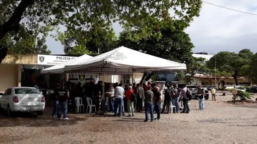 Protesto dos policiais civis se concentra na Central de Flagrantes (Foto: Sinpol-RN)