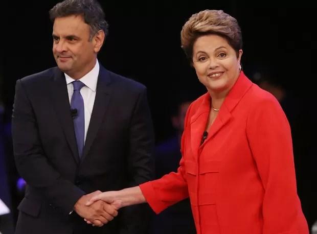 """""""A agenda de investigações pode ajudar a gerar o fato jurídico necessário para viabilizar o processo de afastamento da presidente Dilma""""; na foto, com a presidenta em 2014, durante um debate (Foto: Getty Images)"""