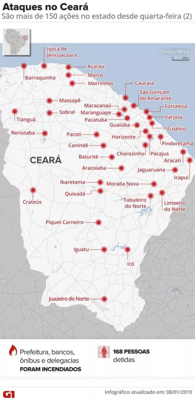 Ceará registra série de ataques criminosos — Foto: Infográfico: Juliane Monteiro/G1