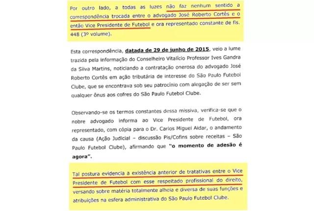 (editado) Parecer Comitê Ética São Paulo Página 11 (Foto: Arte: GloboEsporte.com)