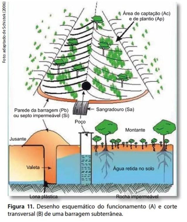 """Desenho de uma barragem subterrânea na publicação da Embrapa """"Agricultura familiar dependente de chuva no semiárido"""", de 2019 — Foto: Reprodução/Embrapa"""