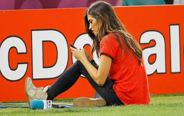 Sara Carbonero, Espanha x França (Foto: Agência EFE)