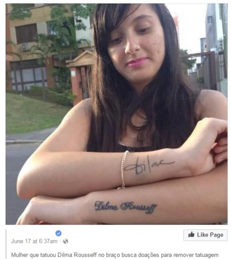 Jovem diz que não vai remover tatuagens com o nome da ex-presidente  (Foto: Reprodução/ Facebook )