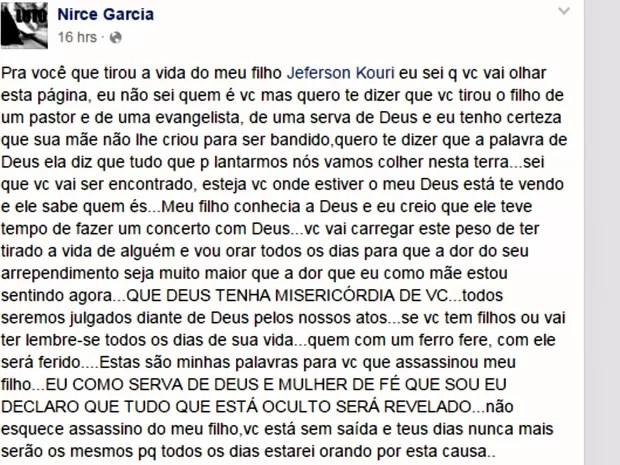 Mãe diz que fez um desabafo em postagem direcionada ao assassino do filho Jeferson Kouri (Foto: Reprodução/Facebook)