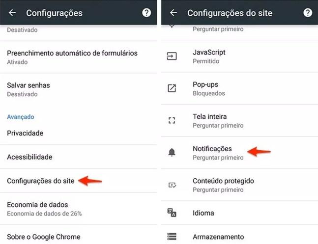 Acesse as configurações do navegador para ver quais sites estão com notificações ativadas — Foto: Reprodução/Alessandro Junior