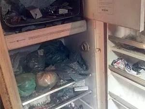 Geladeira de casa estava desligada e com acúmulo de lixo (Foto: Anna Lúcia/G1)