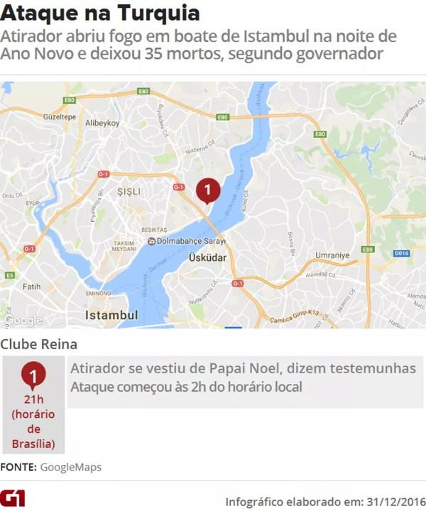 Atirador abriu fogo no Clube Reina, famosa boate de Istambul, na noite de Ano Novo e deixou 35 mortos, segundo governador (Foto: Editoria de Arte/G1)