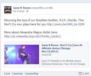 guns 'n' roses chorão (Foto: Reprodução/Facebook)