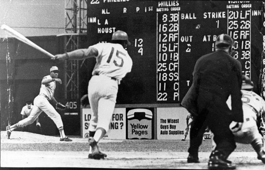 Allen takes a big cut at a pitch from Hall-of-Famer Bob Gibson at old Connie Mack Stadium.