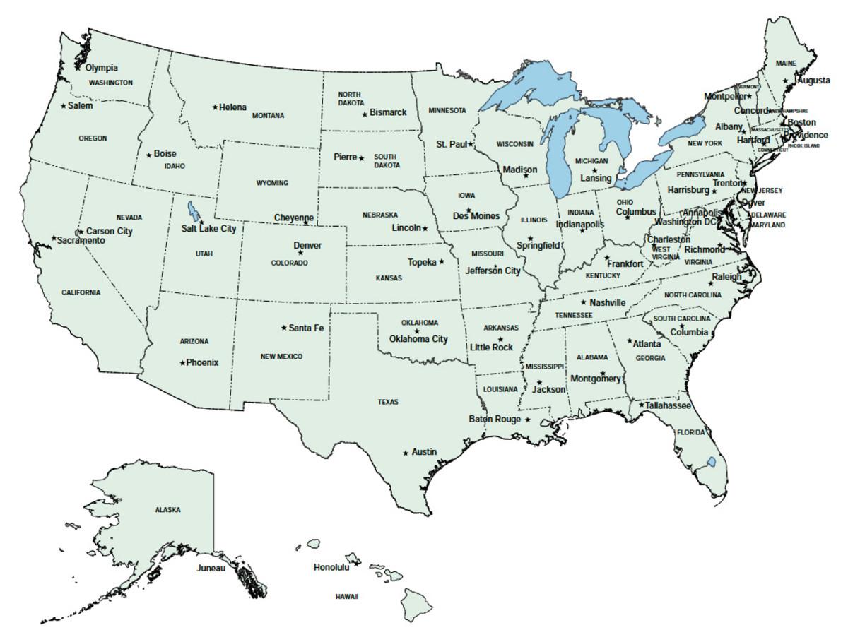 Usa States And Capitals List Printable