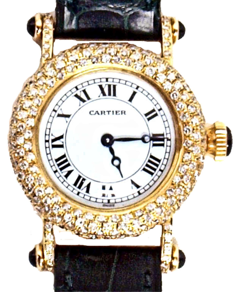 CARTIER LADIES GOLD WATCH WITH DIAMONDS