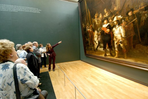 """The Night Watch"", by Rembrandt, on display at the Rijksmuseum, Amsterdam."