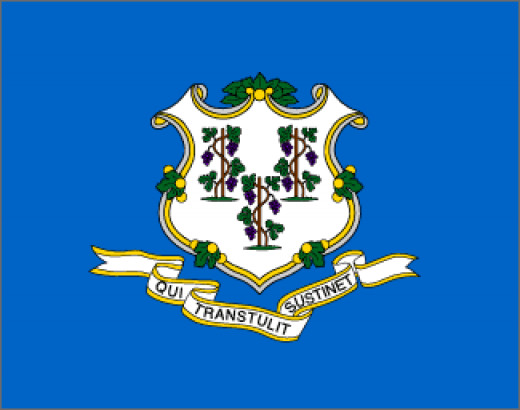 "On a field of azure blue is an ornamental white shield with three grapevines, each bearing three bunches of purple grapes. The states motto ""He who Transplanted Sustains Us"" is displayed on a white ribbon. The vines stand for the first settlements of"