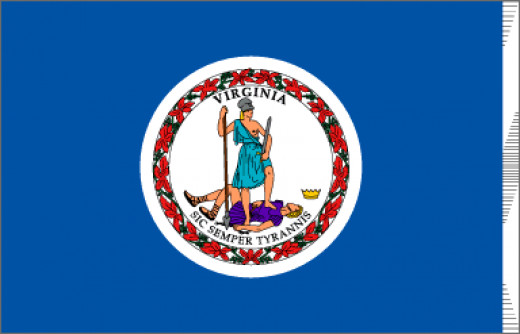 """A deep blue field contains the seal of Virginia with the Latin motto """" Sic Semper Tyrannis"""" - """"Thus Always to Tyrants"""". Adopted in 1776. The two figures are acting out the meaning of the motto. Both are dressed as warriors. The woman, Virtue, represe"""
