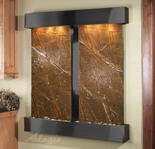 Wall Water Feature - The Cottonwood Falls with brown spider marble