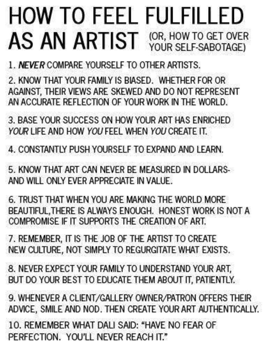This can apply to ANY creative arts