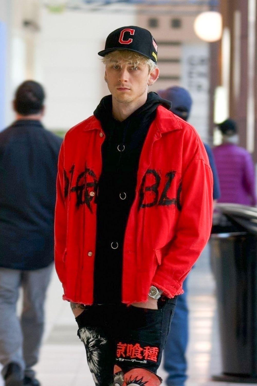Machine Gun Kelly in the red jacket