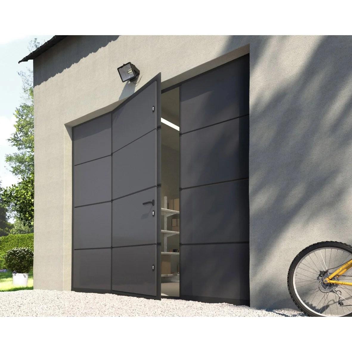 Porte De Garage Sectionnelle Avec Portillon Au Meilleur Prix Leroy Merlin
