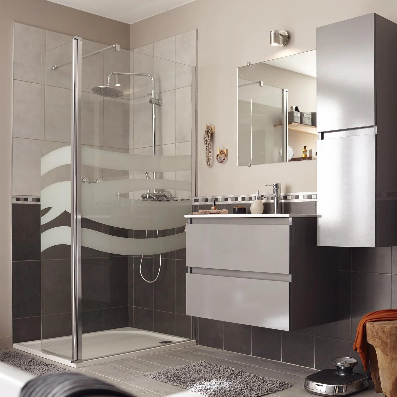 salle de bains gris argent contemporain actuel