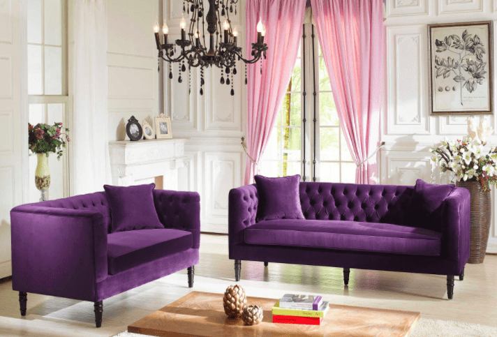 Pantone Color of the Year 2018 Ultra Violet Living Room Purple Velvet Couch Chandelier Flowers Pink Curtains