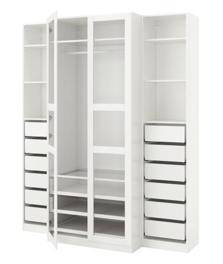 Pax Wardrobe White Tyssedal Glass