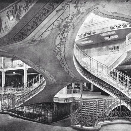 Central staircase in the Grands Magasins Dufayel department store, Paris, late 19th century.