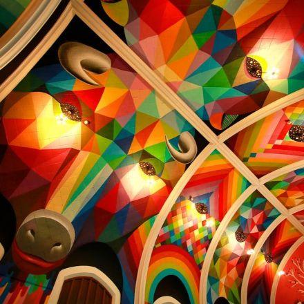 The international church of cannabis has an incredible rainbow mural.