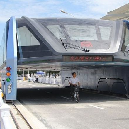 China's futuristic 'straddling bus' now sits abandoned, gathering dust and blocking traffic