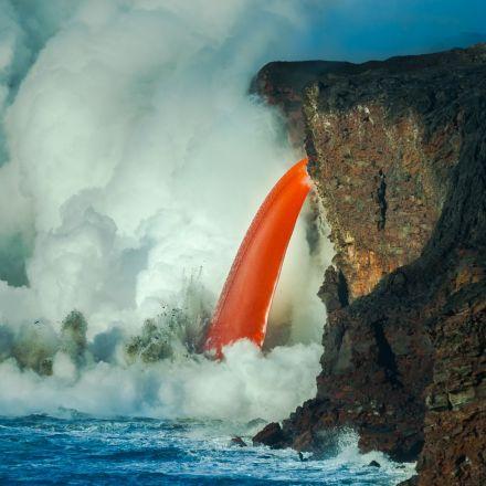 Lava Waterfall at Kilauea Volcano, Hawaii