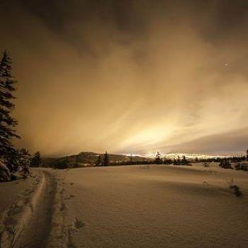 Trondheim city lights from Gråkallen Norway 27.12.2014