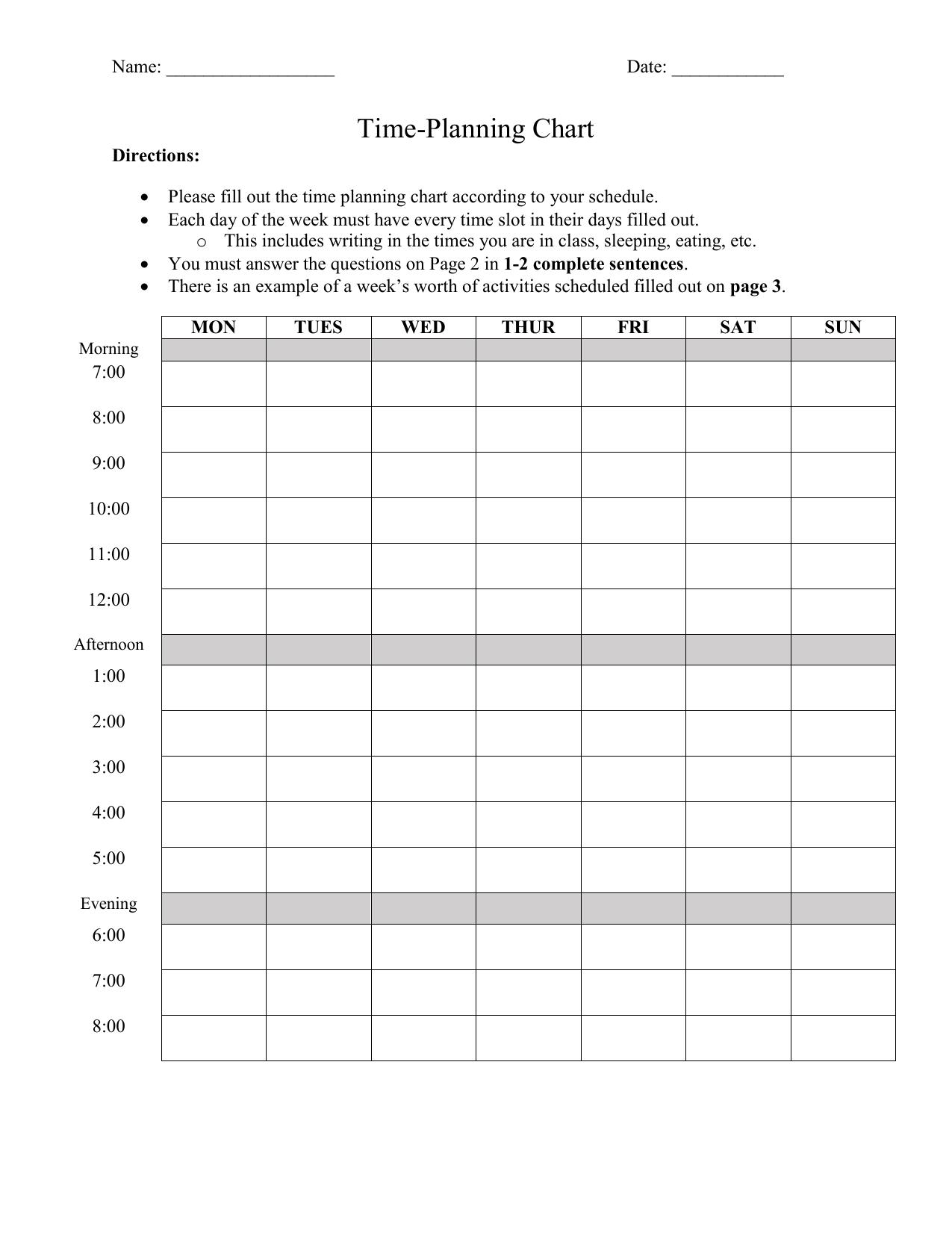 Time Management Worksheet 1