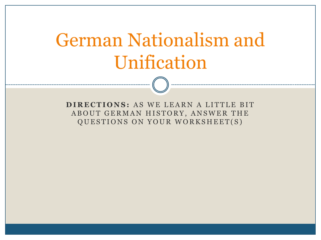 German Nationalism And Unification