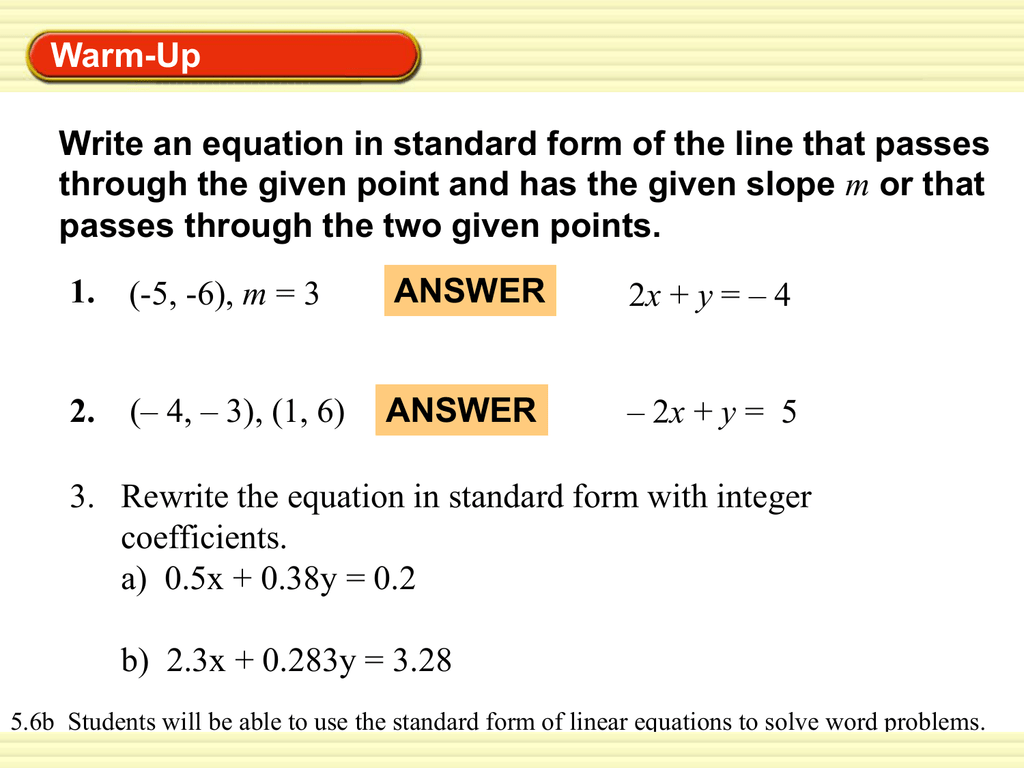 How To Write A Standard Form Equation With Two Points
