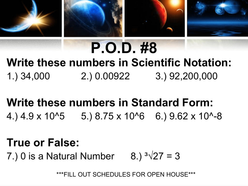 Pod 8 Write These Numbers In Scientific Notation