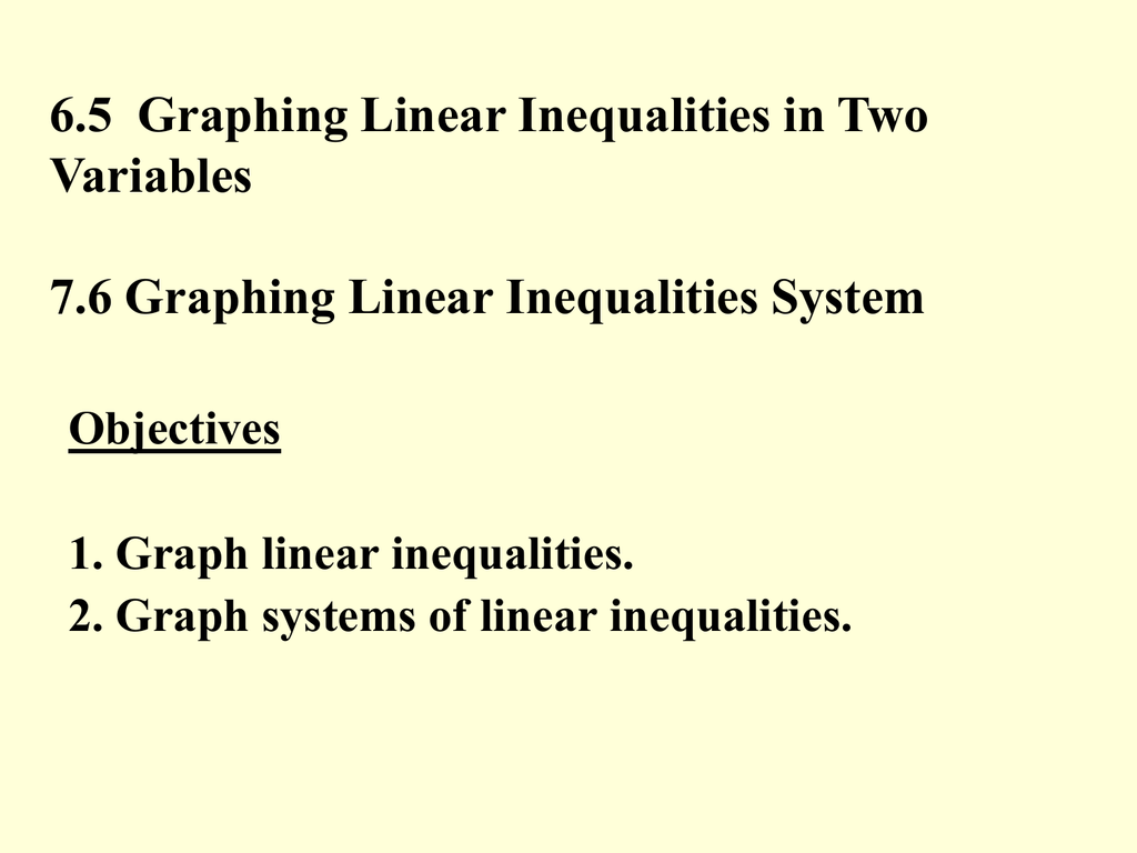 6 5 Graphing Linear Inequalities In Two Variables
