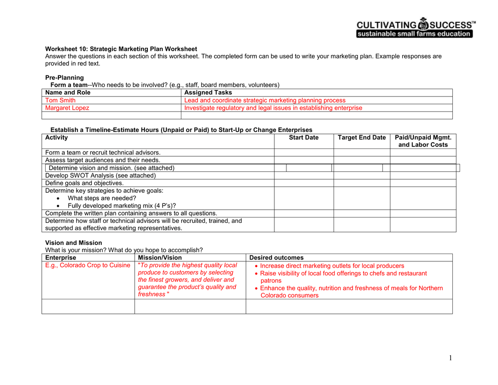 Worksheets Strategic Planning Worksheet Cheatslist Free