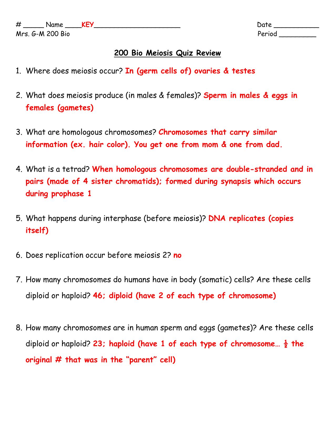 Quiz Questions About Meiosis