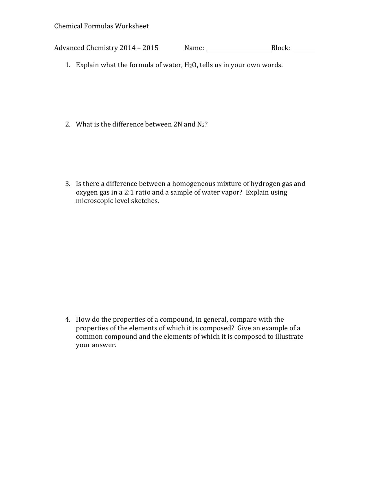 Chemical Formulas Worksheet