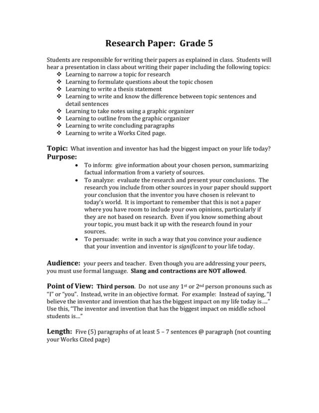 Research Paper: Grade 6
