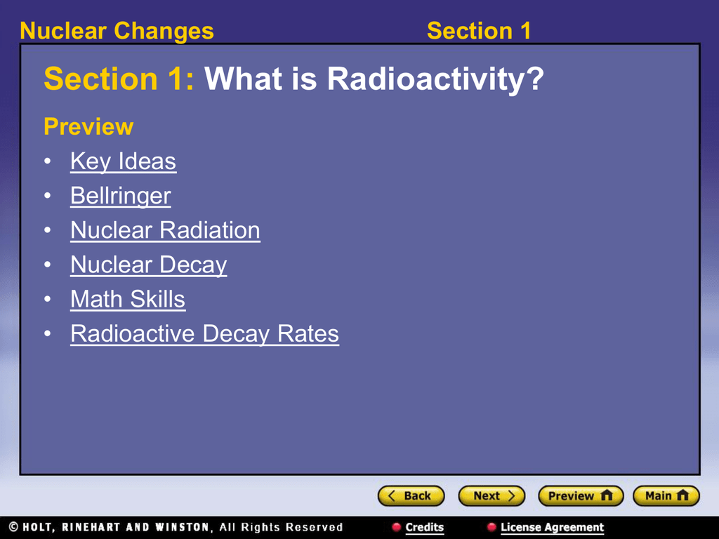 Section 1 Nuclear Changes