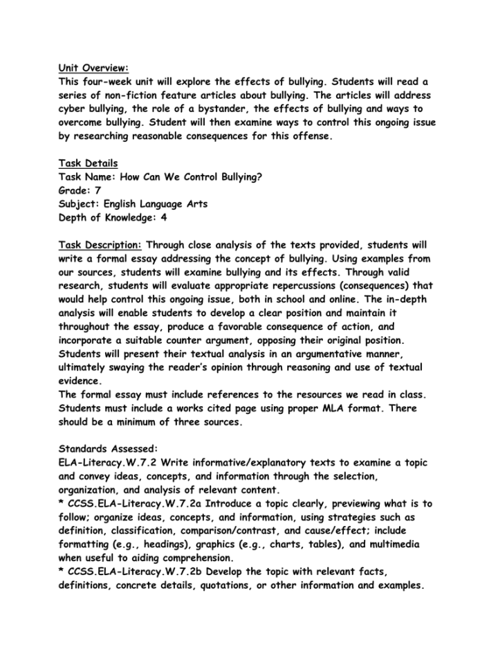 middle school essay on bullying Bullying occurrences have been a perpetual problem in schools and among   and the psychosocial school environment in middle schools.