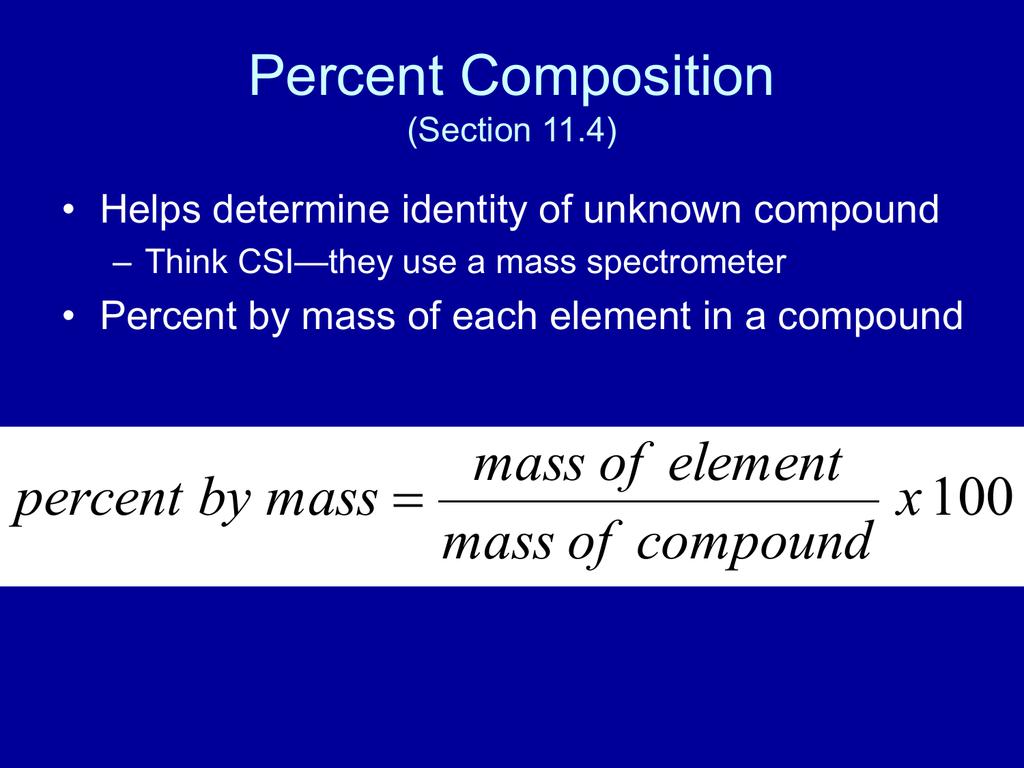 Percent Composition Section 11 4