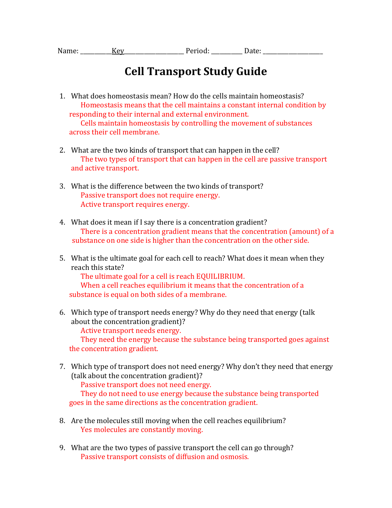 Chapter 7 Section 4 Cellular Transport Answer Key
