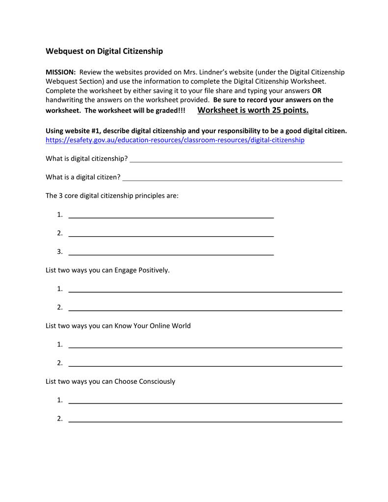 Digital Citizenship Webquest Worksheet