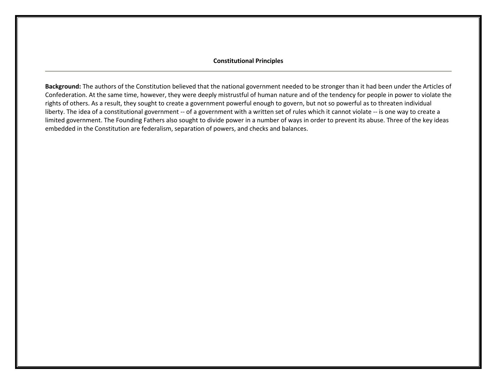 Constitutional Principles Worksheet