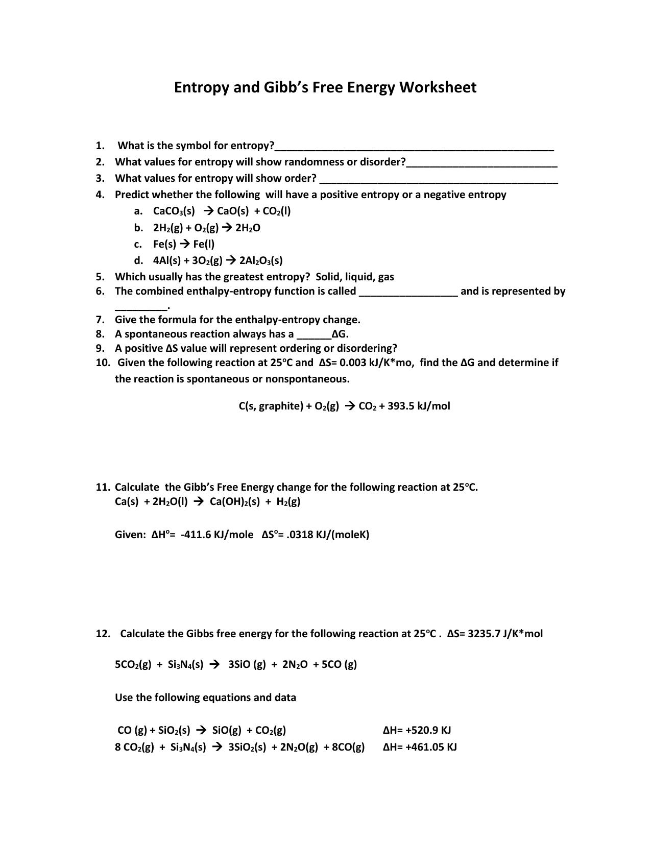 Gibbs Free Energy Worksheet