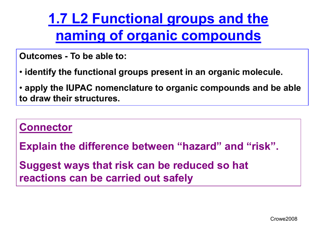 1 7 L2 Functional Groups And The Naming Of Organic Compounds