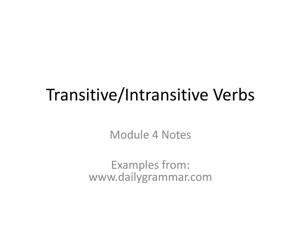 Transitive Intransitive Verbs