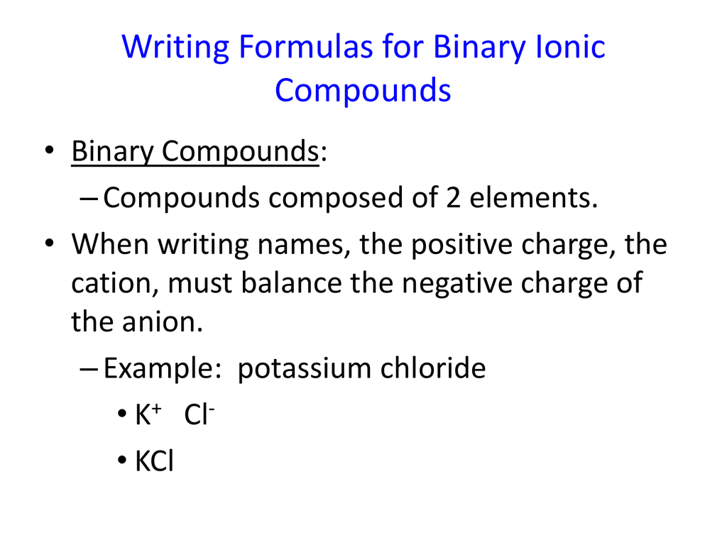 Ternary Ionic Compounds Examples