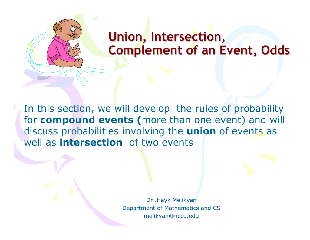Union Intersection Complement Of An Event Odds Compound